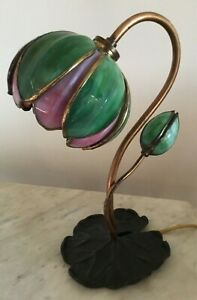 Antique Handel Tulip Lily Lilly Pad Lamp Two Toned Stained Slag Glass Signed