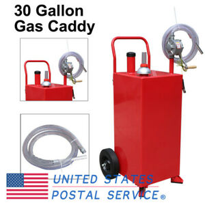 30 Gallon Manual Gas Caddy Auto Fuel Diesel Storage 8 Hose Transfer Hand Pump