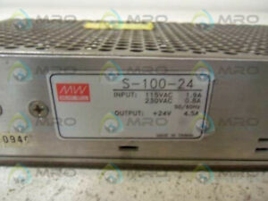 Mean Well S 100 24 Power Supply Single 24vdc Used