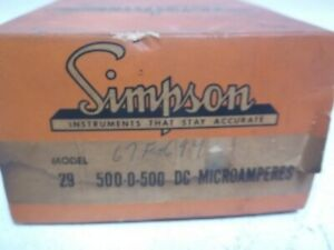 Simpson Model 29 Meter 500 0 500 Dc Microamperes New In Box
