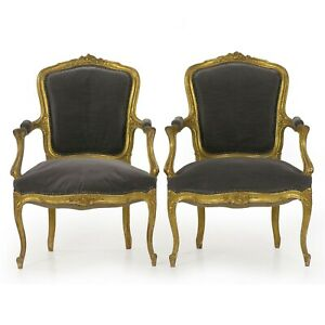 Antique French Chairs Pair Of Louis Xv Style Carved Fauteuils Arm Chairs C 1900