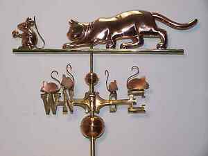 Beautiful Cat Chasing Mice Copper Brass Weathervane Mount Copper Or Glass Balls