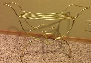 Vintage Vanity Bench Gold Metal Brass Dressing Chair Stool Hollywood Regency