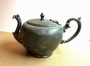 Antique Ornate Rogers Smith Co New Haven Ct 1860 Small Tea Pot Silver Plate