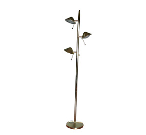 Vintage Mid Century Modern Mcm Brass 3 Lamp Head Tall Floor Lamp Light 3 Switch