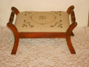 Antique Needlepoint Tapestry Foot Stool Maple Wood Early American Usa 1940s
