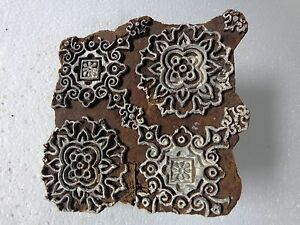 Vintage Hand Carved Wood Block Stamps Fabric Prints Tools B11 Aged Early India