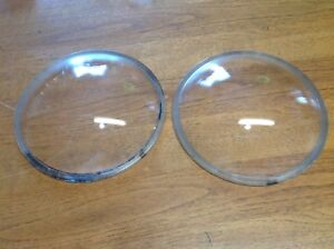 Vintage Pair Macbeth No 11717 Convex Glass Lenses Early Head Lamp Light
