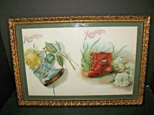 Antique Victorian Mourning Picture Framed Victorian Deco Memories Print Picture