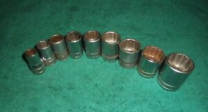 Snap On 1 2 Drive Sae 6 12 Point Shallow Chrome Sockets 9 Pc Set