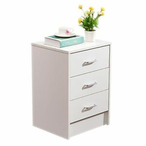 File Cabinet Table Desk Nightstand 3 Drawer File Storage For Home Office White