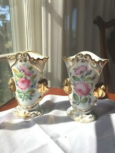 Antique Pair Old Paris Signed P A Porcelain Hand Painted Gold Gilt Vases
