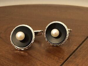 Tuxedo Cufflinks And Button Set Onyx Pearls Sterling Silver