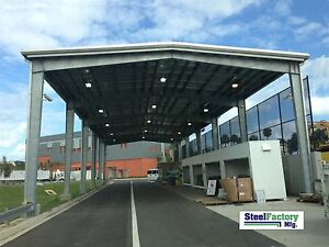 Steel Factory Mfg Prefab 40x75x16 Roof Only Metal Rigid I beam Frame Building