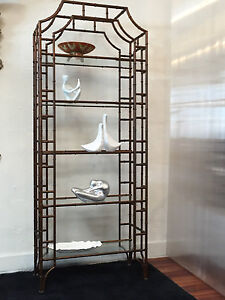 Italian Hollywood Regency Metal Faux Bamboo Etagere Shelving Unit