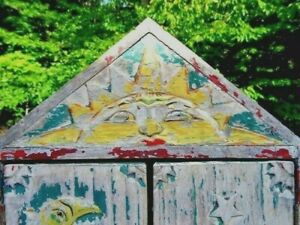 Antique Quebec Primitive Folk Art Medicine Cabinet Gypsy Sun Moon Stars Carved