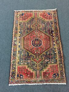 On Sale Semi Antique Hand Knotted Persian Hamadan Geometric Rug Carpet 2 7 X4 2