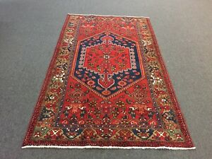 On Sale Semi Antique Hand Knotted Persian Hamadan Rug Geometric Carpet 4 3 X7 3