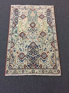 On Sale Fine Hand Knotted Persian Naein Naeen Silk Wool Rug Carpet 2 9 X4 2