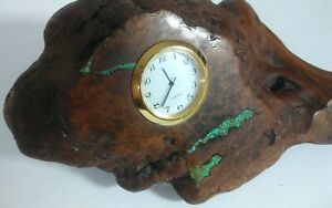 Burl Wood Turquoise Infused Mid Century Modern Decorative Arts Clock Vintage Art
