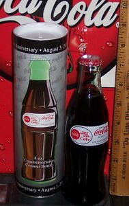 2001 WORLD OF COCA COLA ATLANTA 11TH ANNIVERSARY 8OZ COCA COLA BOTTLE & TUBE