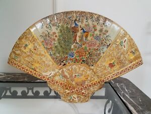Satsuma Antique Table Piece Porcelain Peacock And Gold Embellished Fan