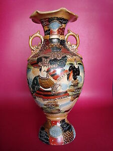 Circa 1890 Large 14 35 6cm Antique Earthenware Japanese Satsuma Vase