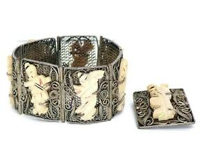 Antique Chinese Export Silver Filigree Panel Bracelet And Pin
