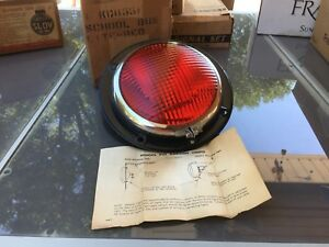 Nos Nib Vintage Red School Bus Kd Lamp 855f Light Glass Lens Auto Truck Old Van