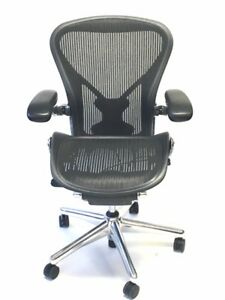 Herman Miller Executive Size B Posturefit With Leather Arm Pads Aeron