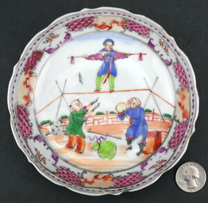 Antique Chinese Export Tea Bowl Saucer Acrobats Polychrome Enamel Tightrope