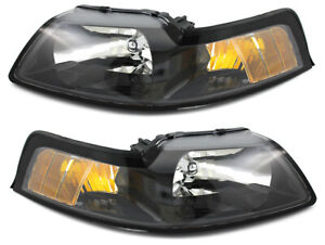 For 2001 2002 2003 2004 Ford Mustang Headlight Headlamp Pair Set Replacement