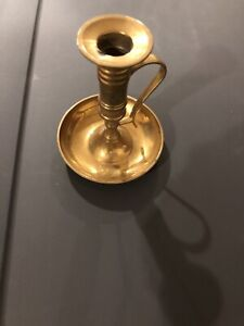 Vintage Antique Brass Candlestick With Tray Rare Collectible Free Shipping