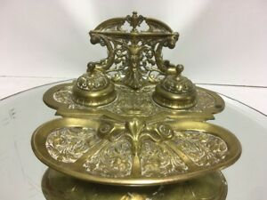 Antique Lawyer S Bronze Pen Coin Dish 2 Ink Stand Inkwell Devil Satan Rams Head