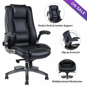 Vanbow High Back Leather Office Chair Thick Padding Computer Desk Chair Black