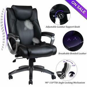 Vanbow Leather Memory Foam Office Chair Executive Home Computer Desk Chair black