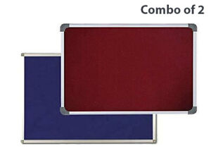 Pin Up Bulletin Notice Board Combo Of 2 Units 1 X 1 5 Feet Maroon