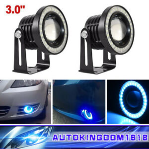 3 0 Cob Led Ice Blue Angel Eye Automobile Drl Daytime Running Lights Fog Lamps