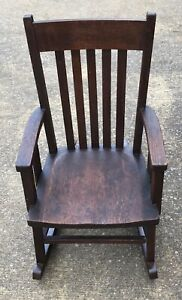 Antique Mission Solid Oak Child S Rocker Stickley Era Rocking Chair Excellent