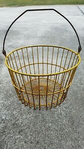 Vintage Yellow Coated Wire Egg Gathering Basket Country Kitchen Farm Decor