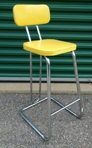 Mid Century Modern Daystrom Kitchen Bar Stool Chrome Yellow Seat Hairpin Legs