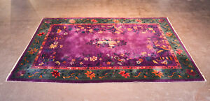 Antique Chinese Deco Wool Rug Purple Green Orange 8ft X12ft Gorgeous