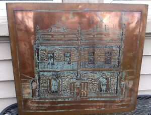 Antique Large Copper Architectural Plate Victorian Terrace House Australia