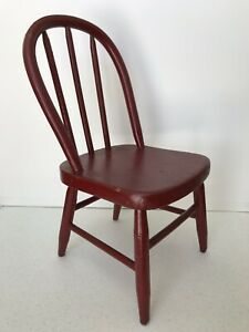Antique Primitive 19th C Folk Art Red Painted Hoop Back Child S Doll Chair Aafa