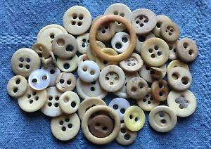 Aafa 50 Antique Primitive Bone Mop China Civil War Underwear Buttons Old Lot