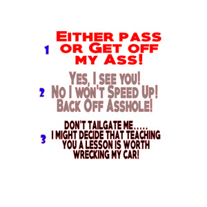 Tailgating Tailgater Road Rage Die Cut Vinyl Car Decal Bumper Stick 14 Choices