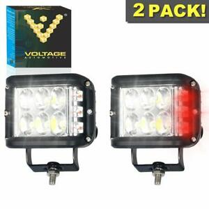 2 Pcs 3 Inch 18w Square Side shooter Led Dual Function Red Strobe Off road Atv