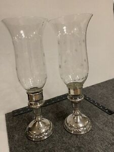 Amston Sterling Silver Candle Holders Glass Hurricane Globes W Sterling Inserts
