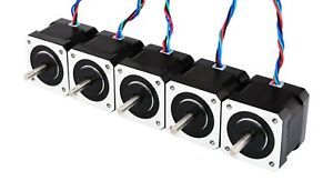 Nema 17 5pcs Stepper Motor 45ncm 4 lead 1m Cable W Connector Diy Cnc