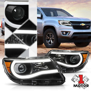 Black Projector Headlight led C bar Drl Amber Signal For 15 20 Chevy Colorado
